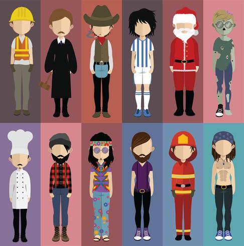 Set av människor avatarer med bakgrund vektor