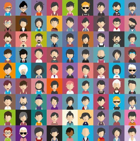 Sats med färgglada avatarer av tecken vektor