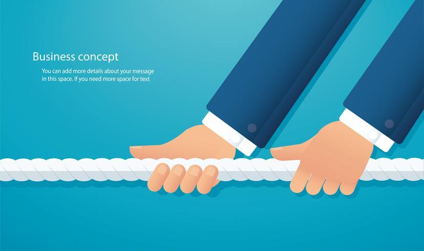 affärsmän drar repet konceptet. dragbåge bakgrund vektor