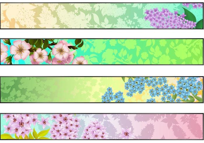 Färsk blom vektor banner pack