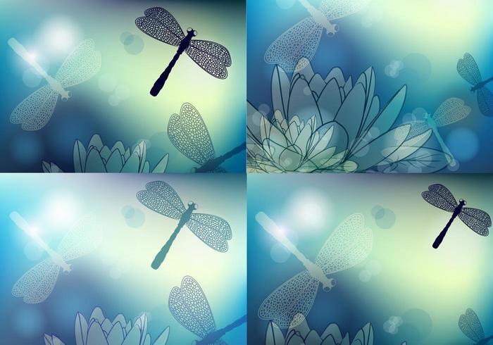 Blå dragonfly vektor tapet pack