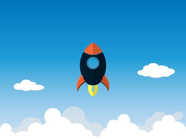 Startup-Business-Projekt Rakete fliegt über den Wolken vektor