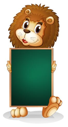 En lejon som innehar en tom kartong vektor