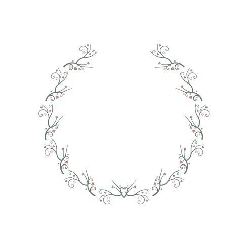 Seamless Pattern Wreaths With Heart. gren vinstockar ram bakgrund. kärlek och Alla hjärtans dag. vektor