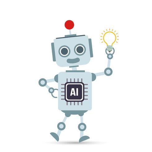 AI-Technologie-Roboterkarikatur der künstlichen Intelligenz, die Birnenlampe hält vektor