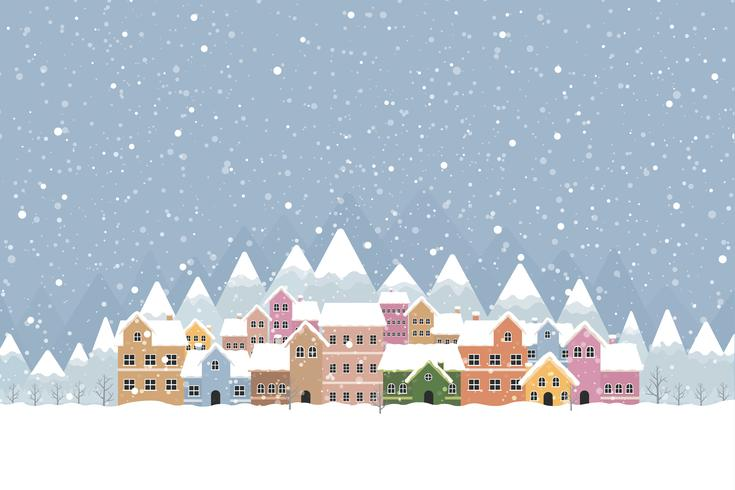 Vinterstad platt stil med snöfall och berg 001 vektor