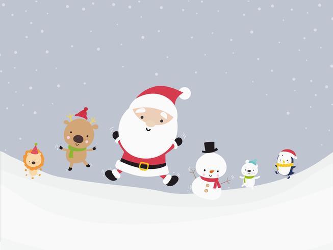 Gullig Santa snögubbe och djurtecknad film lycka i snö 001 vektor