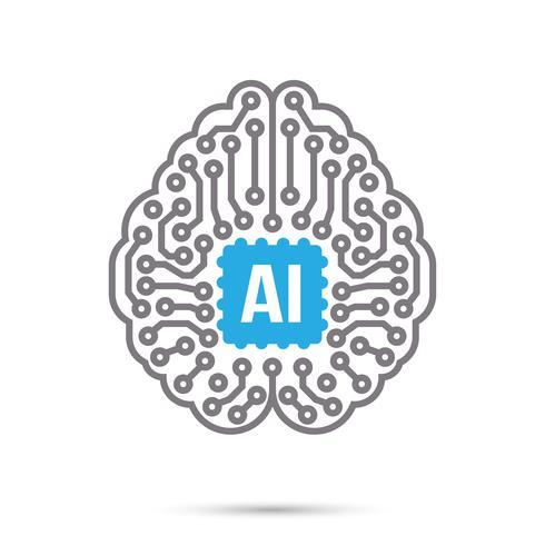 AI Künstliche Intelligenz Technologie Schaltung Gehirnsymbol Symbol vektor