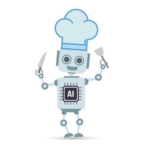 AI Artificiell intelligens Teknikrobot lagar mat vektor