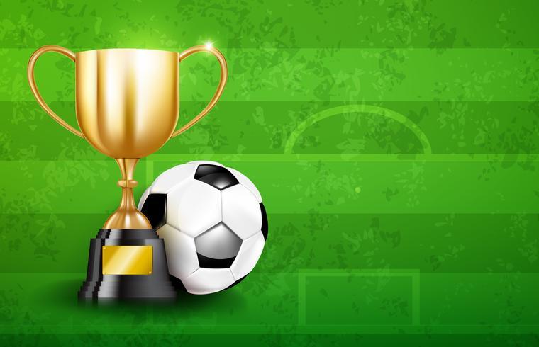 Golden trophy cups och Soccer ball 003 vektor