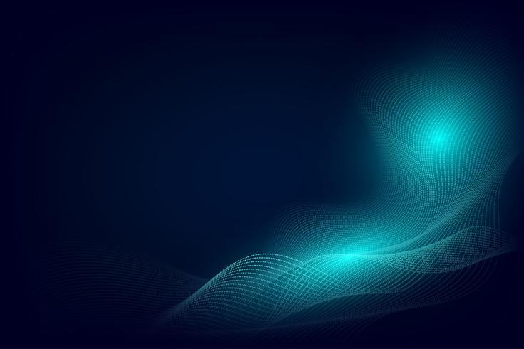 Modernes Design des blauen Partikellinie Wellenzusammenfassungshintergrundes mit Kopienraum, Vektorillustration für Ihr Geschäft und Web-Fahnendesign. vektor