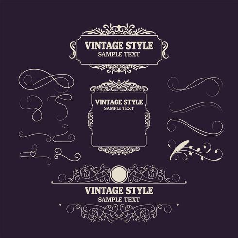 Weinlese-Dekorations-Elemente und Rahmen. Retro Style Design Neue Kollektion für Einladungen, Banner, Plakate, Plakate, Abzeichen vektor