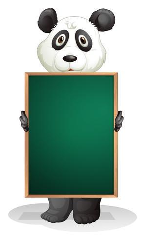 Ein Panda auf der Rückseite einer leeren Tafel vektor
