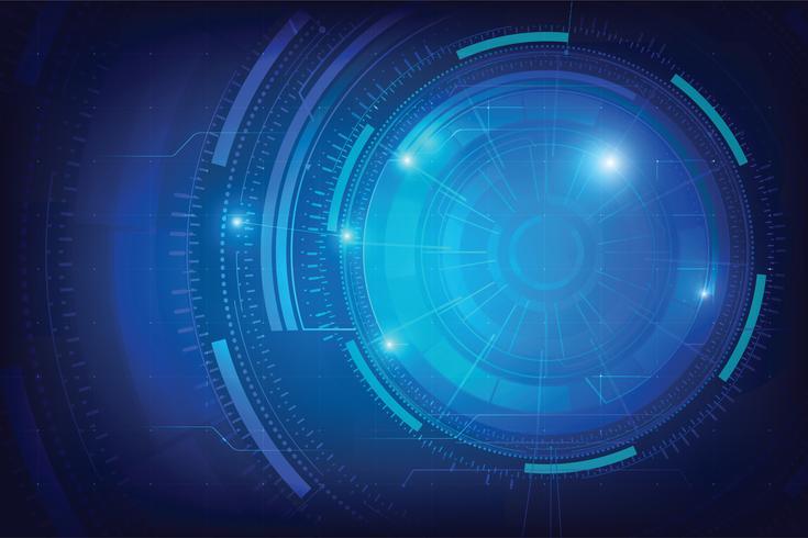 Abstrakter Hintergrund für futuristisches Konzept der Cybertechnologie auf der dunkelblauen Hintergrundvektorillustration vektor
