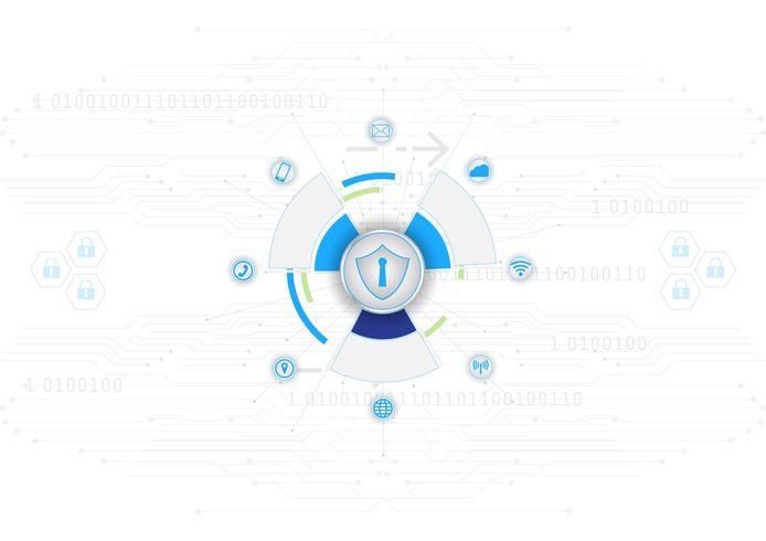 Shield Ikon Säkerhet Koncept Stängt Hänglås på Digital Cyber Security Blue Abstract Hi Speed Internet Technology Vector Bakgrunds Illustration