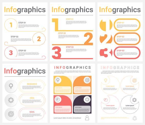 Sats av företagsinfografiska mallar med 3-4 steg, processer eller alternativ. Abstrakt modern infografisk. vektor