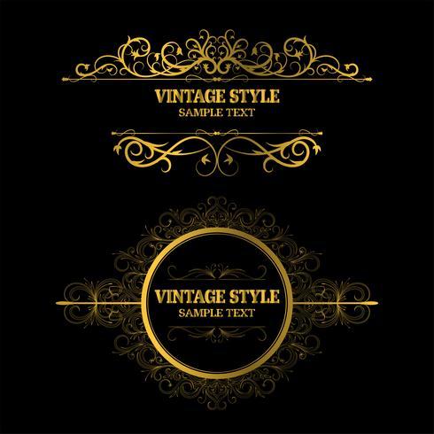 Weinlese-Dekorations-Elemente und Rahmen-Goldfarbe vektor