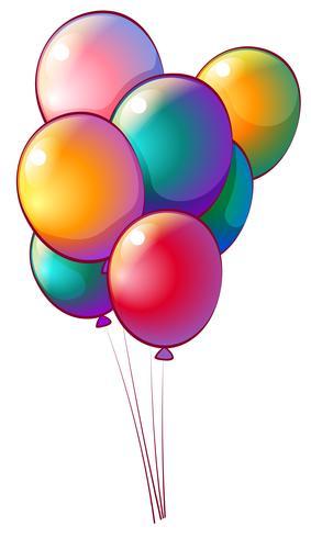 Sieben regenbogenfarbene Luftballons vektor