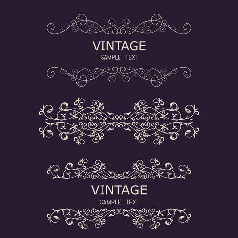 Vintage Decorations Elements. Blomningar kalligrafiska prydnadsföremål och ramar. Retro Style Design Collection för inbjudningar, banderoller, affischer, plånbok, emblem vektor