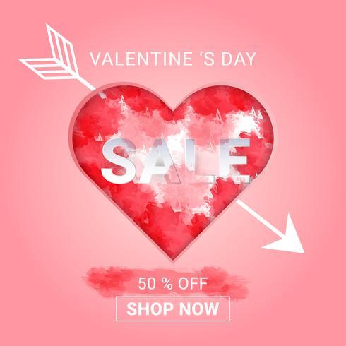 Valentinsdagförsäljning bakgrund med vattenfärg stänk i hjärta och pil cupid. koncept kärlek och valentin dag, papper konst stil. vektor