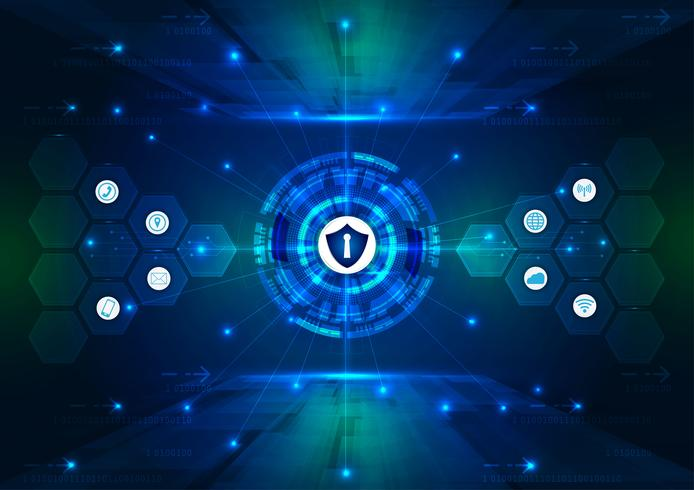 Säkerhetskoncept, Stängt hänglås på digital, cybersäkerhet, blå abstrakt höghastighets internetteknologi vektor bakgrunds illustration.