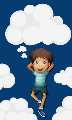 Glücklicher Junge auf dem Himmelhintergrund vektor