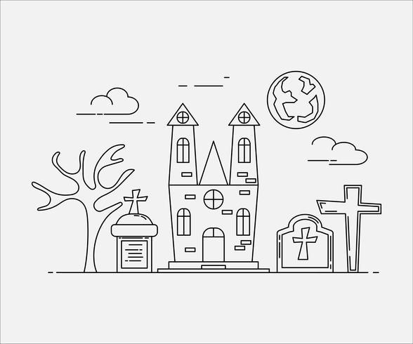 Plattlinjekonststil. design för halloween. hemsida och banner. vektor