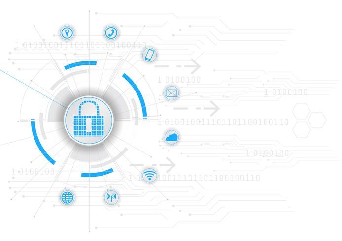 Sicherheitskonzept geschlossenes Vorhängeschloß auf blauer abstrakter hallo Geschwindigkeits-Internet-Technologie-Vektor-Hintergrund-Illustration der digitalen Internetsicherheit vektor