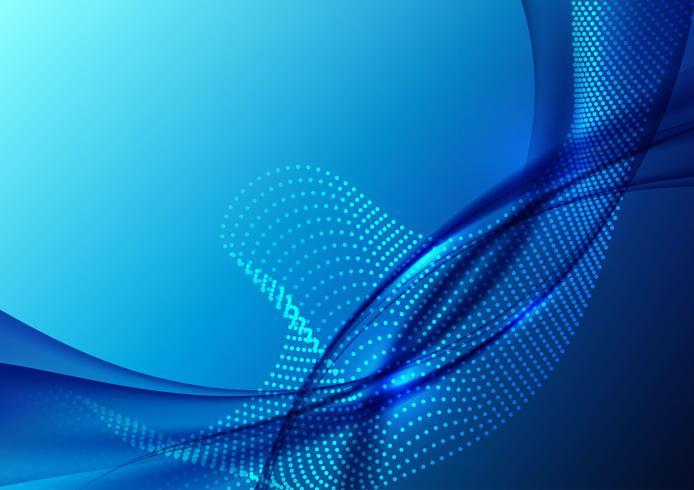 Blaue Farbe bewegt Partikel wellenartig und geometrisches abstraktes Hintergrunddesign. Vektor-Illustration vektor