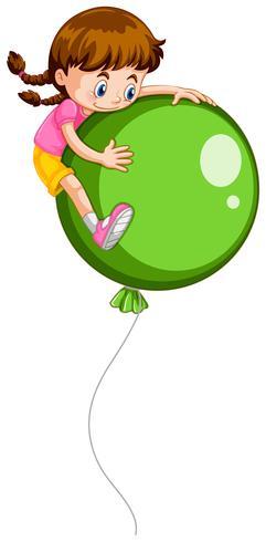 Liten tjej och jätte grön ballong vektor