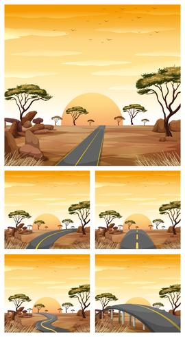 Fem scener med vägar i savannfältet vektor