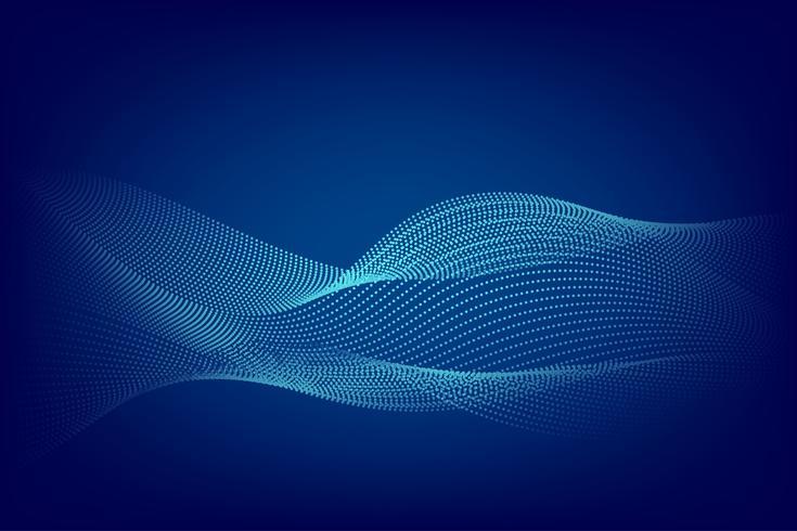 Blå partikel linje våg abstrakt bakgrund modern design med kopia utrymme, Vektor illustration för din verksamhet och webb banner design.