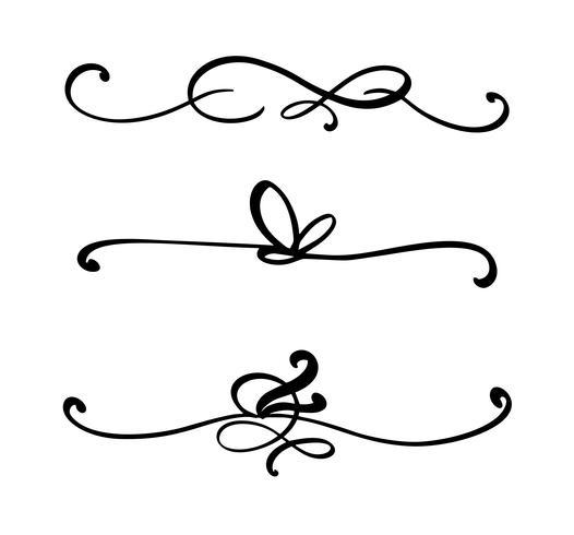 Samling av handdragen skivor eller gränser gjorda med pensel och bläck. Unika virvlar för din design av bok, handgjorda bröllopsalbum. Vektor illustration