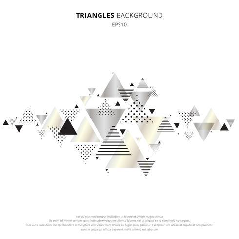 Abstrakta element geometriska trianglar guld, silverfärg på vit bakgrund. Lyxig ny dynamisk mönsterkomposition i retrostil. Du kan använda för rubrik, inbjudan, bannerweb, bröllopskort, affisch, broschyr, etc. vektor