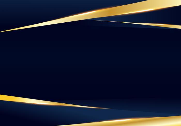 Dunkelblauer und goldener erstklassiger Luxushintergrund der abstrakten Schablone mit Luxusdreieckmuster und Goldbeleuchtungslinien. vektor