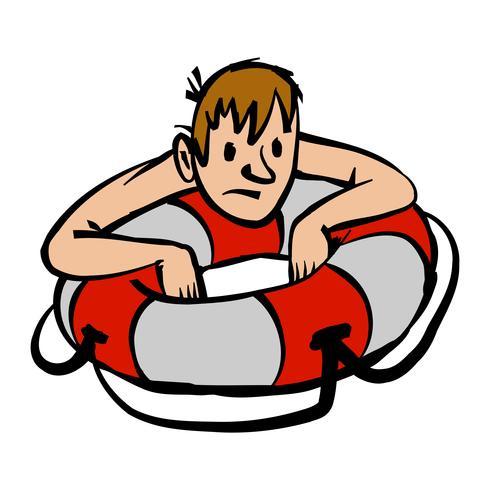 Man som klamrar sig till livsbehållaren tecknad vektor illustration