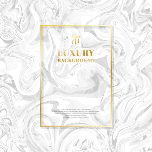 Mall gyllene rektangel ram på vit marmor bakgrund och textur. Lyxig stil. vektor