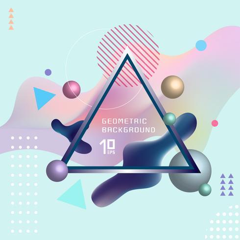 Abstrakt mall färgrika vätskeformer och geometriska affischdäck design bakgrund med triangeln label. Du kan använda för platskort, banderoller, flygblad, presentationer och årsrapporter. vektor