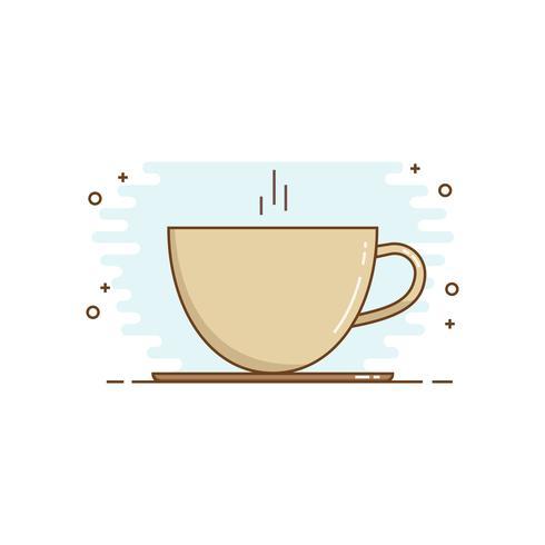 Line art kaffe Design Style. Kaffekoppikon. vektor