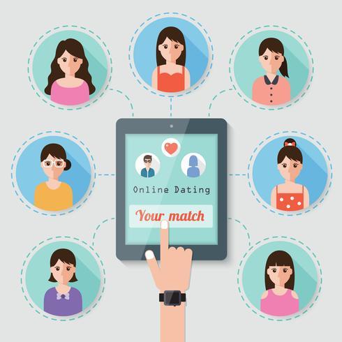 Online-Dating über ein soziales Netzwerk. vektor
