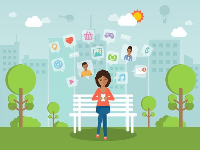 Ung kvinna chattar online på sociala nätverk med smartphone. vektor