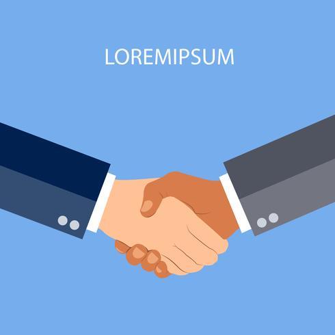 Händeschütteln flach und minimales Konzept des Entwurfes auf blauem Hintergrund. Handshake, Geschäftsvereinbarung. partnerschaftliche Konzepte. Zwei Hände Geschäftsmann rütteln. Vektor-illustration vektor