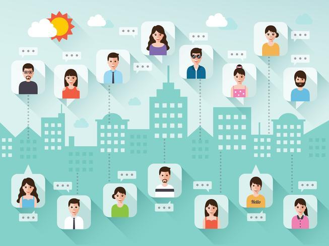 Sociala nätverk människor. vektor