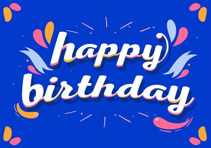 Grattis på födelsedagstypografi på blå bakgrund vektor