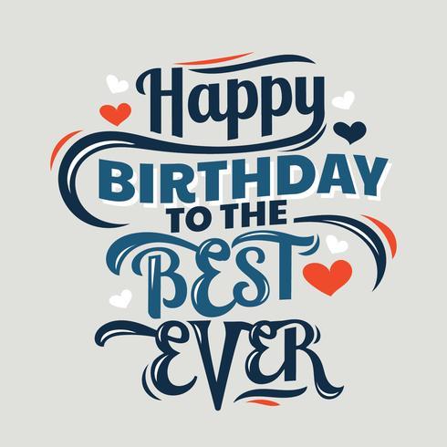 Grattis på födelsedagen Lettering Sign Quote Typography vektor
