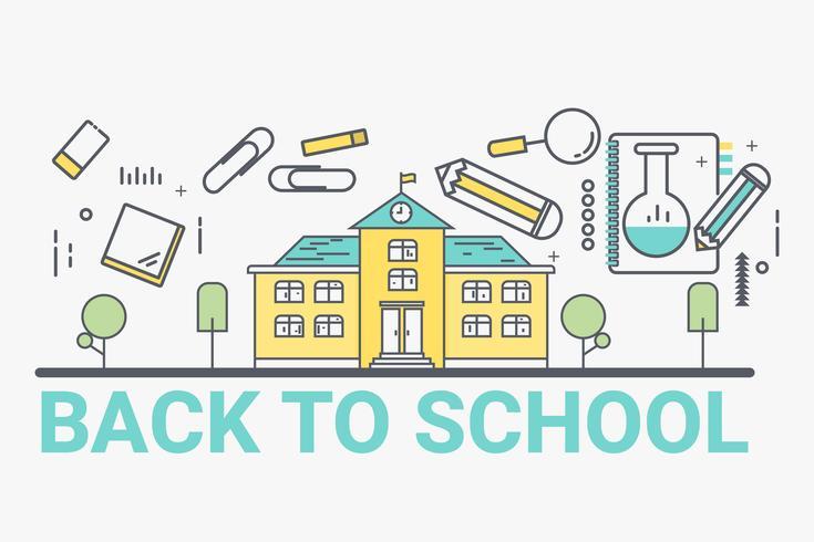 Välkommen tillbaka till skolkonceptet. Tunn linje konst stil design för utbildning idé tema webbsida banner. vektor