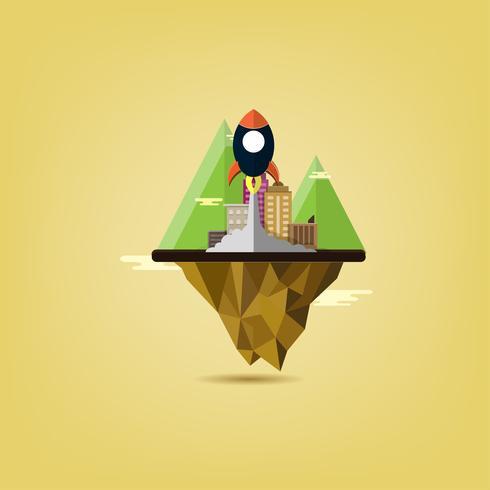 starta affärsprojekt raket som flyger ovanför moln. Flat Design Urban City Landskap med Berg av miljö, grön energi. minimalistisk stil. vektor
