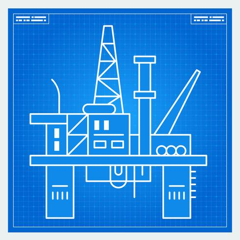 Oljeplattforms riggblåkopi vektor