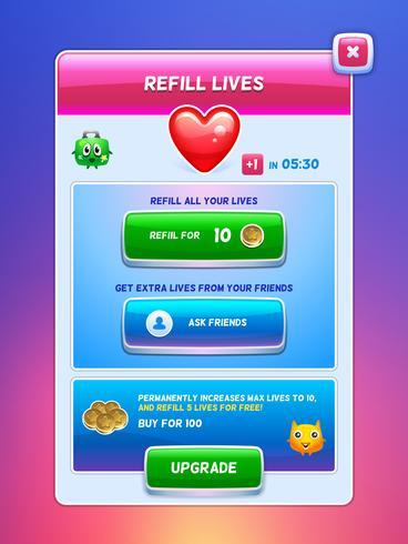 Game UI. Energi påfyll livskärmen. vektor