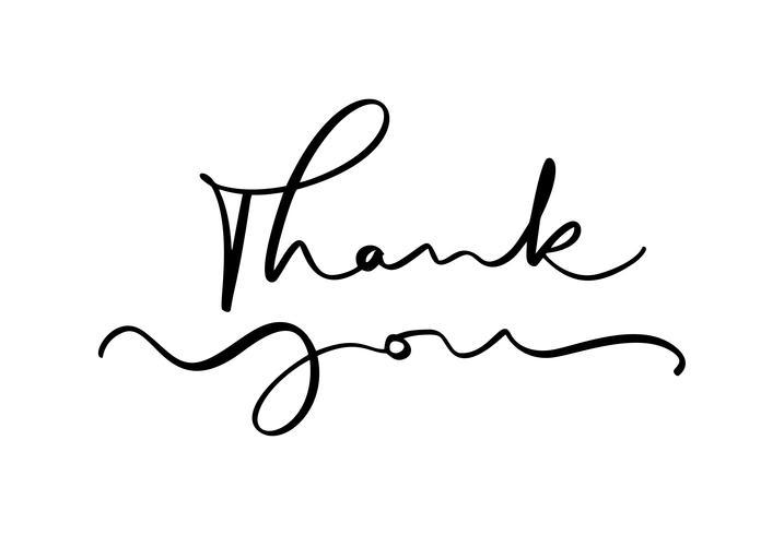 Hand gezeichneter Weinlese Vektortext danken Ihnen. Isoliert auf weißem hintergrund Kalligraphiebeschriftungsillustration für die Heirat, Grußkarte, Tag vektor